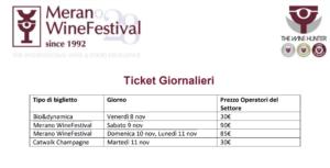 FISAR Merano Wine Festival 2019, agevolazioni ticket d'ingresso
